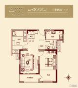 繁华城3室2厅1卫89平方米户型图