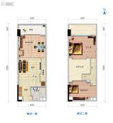 广物亚运源筑2室2厅1卫55平方米户型图