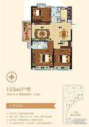 碧桂园・天汇3室2厅2卫123平方米户型图