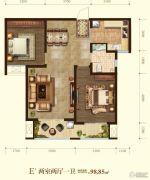 天河悦城2室2厅1卫98平方米户型图