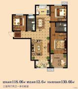 淳茂公园城3室2厅2卫118--130平方米户型图