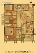 泰安江南星语3室2厅2卫88平方米户型图