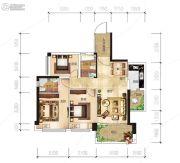 越亚天赐良园3室2厅2卫87平方米户型图