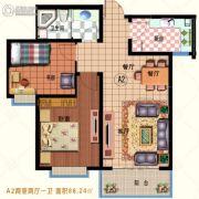 龙林・家天下2室2厅1卫86平方米户型图