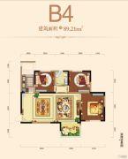 邦泰・铂仕公馆3室2厅1卫89平方米户型图