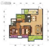 蓝光中央广场3室2厅2卫91平方米户型图