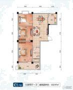 随州左岸星城四期3室2厅1卫102平方米户型图