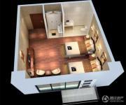 蓝光空港国际城1室1厅1卫45平方米户型图