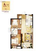 常德万达广场2室2厅1卫85平方米户型图