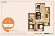 臻园阳光3室2厅1卫97平方米户型图