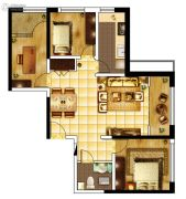 城关江南明珠3室1厅1卫104平方米户型图