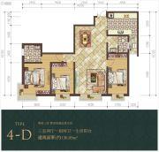 经典明苑3室2厅1卫136平方米户型图