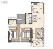 广州亚运城2室2厅2卫100平方米户型图