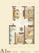 御景园3室2厅2卫96平方米户型图
