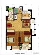 金都夏宫2室2厅1卫77平方米户型图