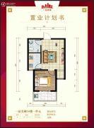 一品美城1室1厅1卫55平方米户型图