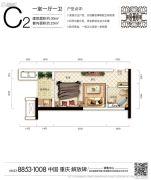 融创白象街1室1厅1卫23平方米户型图