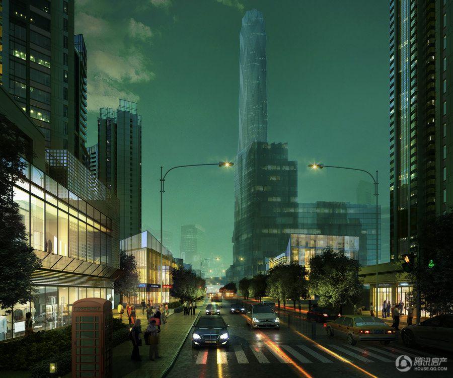 夜景沿街透视效果图
