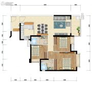 时代水岸3室2厅2卫115平方米户型图