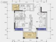 北城天街2室2厅1卫55平方米户型图