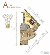 御庭春MOMA白金海岸公寓2室1厅1卫89平方米户型图