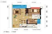 碧桂园城市花园2室2厅1卫74平方米户型图