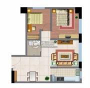 文化空间2室2厅1卫86平方米户型图