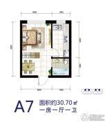 华源温泉度假公寓1室1厅1卫30平方米户型图