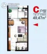 开源时代公寓1室2厅1卫49平方米户型图