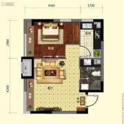 保利溪湖林语1室1厅1卫47平方米户型图
