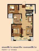 淳茂公园城3室2厅1卫88--98平方米户型图