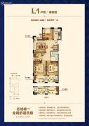 侨福一品高尔夫公馆4室2厅1卫88平方米户型图