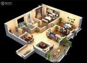 润弘铭城3室2厅2卫128平方米户型图