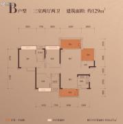 富辰・�箸缤�3室2厅2卫128--129平方米户型图