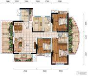 城中央4室2厅2卫95平方米户型图