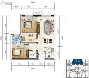 海鸿居然之家2室2厅1卫69平方米户型图