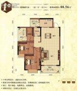 华厦丽景湾2室2厅1卫88平方米户型图