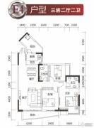 兆安・现代城3室2厅2卫116--117平方米户型图