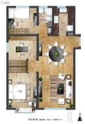 世界冠郡3室2厅1卫105平方米户型图