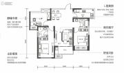 华远辰悦3室2厅2卫107平方米户型图