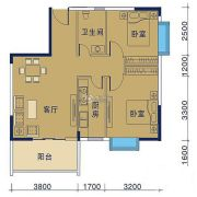 御�Z华庭2室2厅1卫69平方米户型图