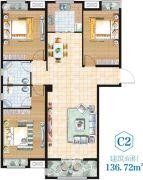 金湖・新天地3室2厅2卫136平方米户型图