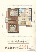 金地阳光2室1厅1卫55平方米户型图