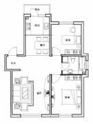 新星宇和源2室2厅1卫100平方米户型图