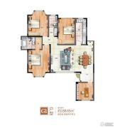 绿地泰晤士新城4室2厅2卫158平方米户型图