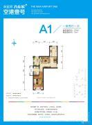 永定河孔雀城空港壹号1室2厅1卫63平方米户型图