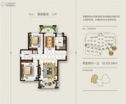 上海滩花园2室2厅1卫102平方米户型图