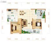 东方美地3室2厅1卫96平方米户型图