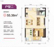 盛荟天地1室1厅1卫55平方米户型图