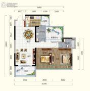 香槟小镇2室2厅2卫96平方米户型图